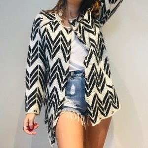 JOA chevron oversized long pocket coat cardigan